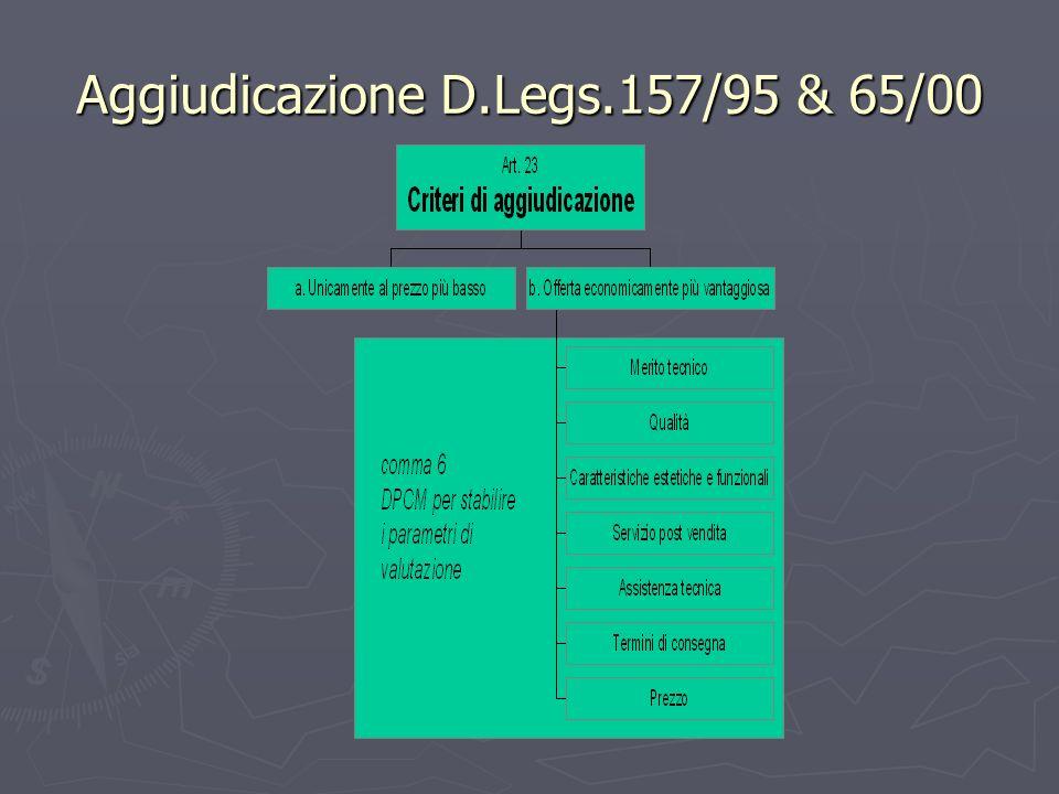 Aggiudicazione D.Legs.157/95 & 65/00