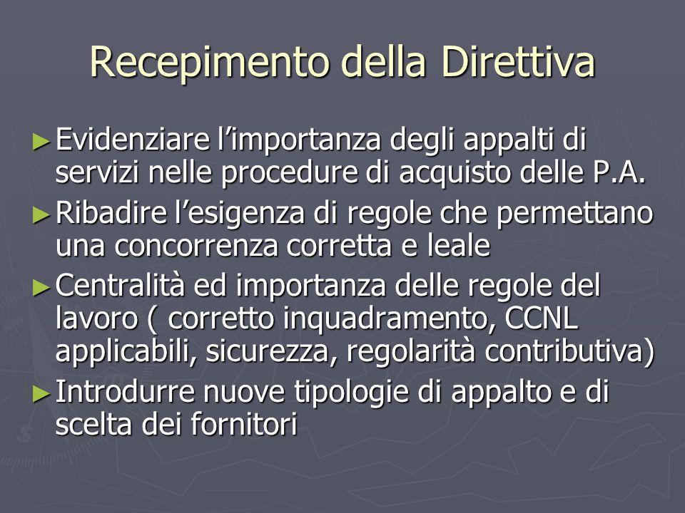 Recepimento della Direttiva Evidenziare limportanza degli appalti di servizi nelle procedure di acquisto delle P.A.