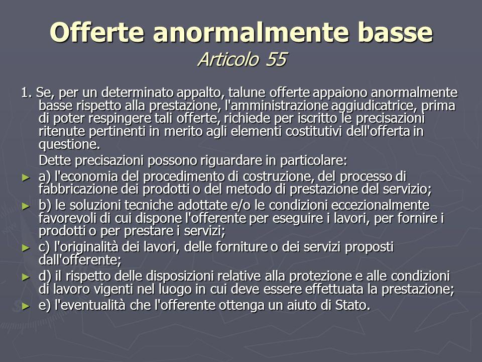 Offerte anormalmente basse Articolo 55 1.