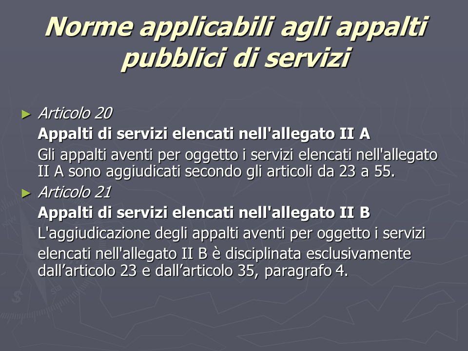 Norme applicabili agli appalti pubblici di servizi Articolo 20 Articolo 20 Appalti di servizi elencati nell allegato II A Gli appalti aventi per oggetto i servizi elencati nell allegato II A sono aggiudicati secondo gli articoli da 23 a 55.
