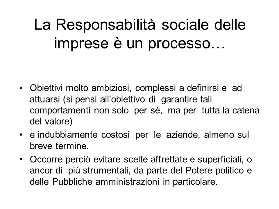 La Responsabilità sociale delle imprese è un processo… Obiettivi molto ambiziosi, complessi a definirsi e ad attuarsi (si pensi allobiettivo di garantire tali comportamenti non solo per sé, ma per tutta la catena del valore) e indubbiamente costosi per le aziende, almeno sul breve termine.