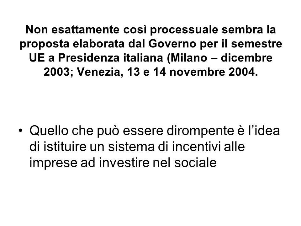 Non esattamente così processuale sembra la proposta elaborata dal Governo per il semestre UE a Presidenza italiana (Milano – dicembre 2003; Venezia, 13 e 14 novembre 2004.