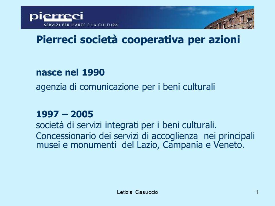 Letizia Casuccio1 Pierreci società cooperativa per azioni nasce nel 1990 agenzia di comunicazione per i beni culturali 1997 – 2005 società di servizi integrati per i beni culturali.