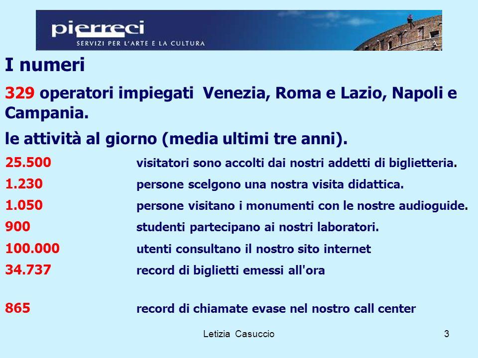 Letizia Casuccio3 I numeri 329 operatori impiegati Venezia, Roma e Lazio, Napoli e Campania.