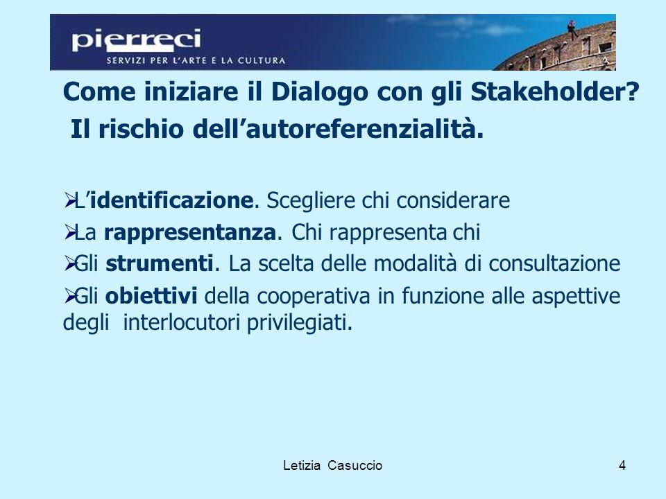 Letizia Casuccio4 Come iniziare il Dialogo con gli Stakeholder.