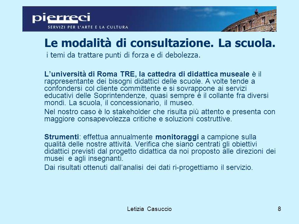 Letizia Casuccio8 Le modalità di consultazione. La scuola.