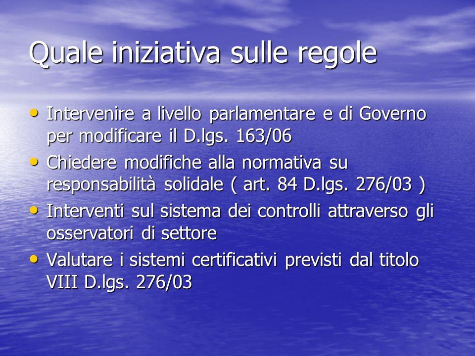Quale iniziativa sulle regole Intervenire a livello parlamentare e di Governo per modificare il D.lgs.