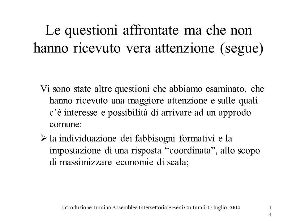 Introduzione Tumino Assemblea Intersettoriale Beni Culturali 07 luglio 200414 Le questioni affrontate ma che non hanno ricevuto vera attenzione (segue