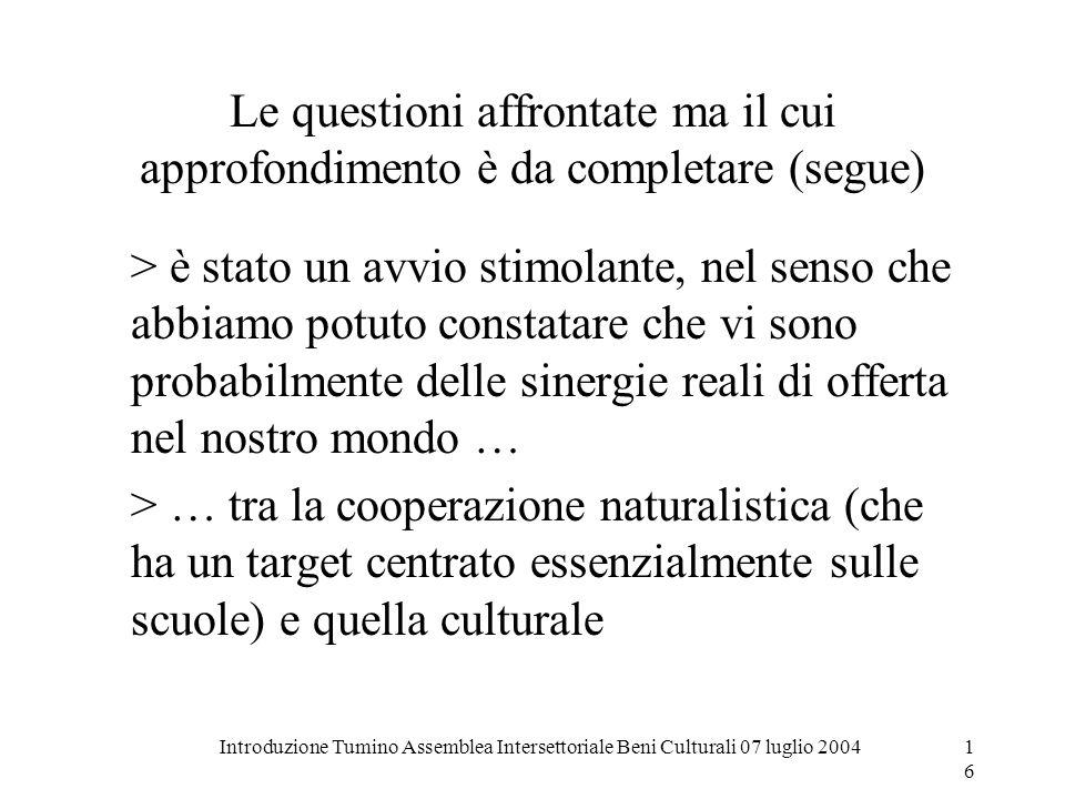 Introduzione Tumino Assemblea Intersettoriale Beni Culturali 07 luglio 200416 Le questioni affrontate ma il cui approfondimento è da completare (segue