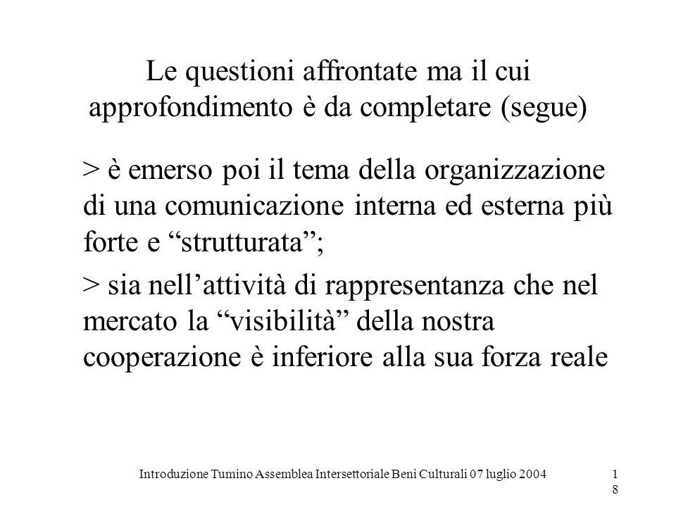 Introduzione Tumino Assemblea Intersettoriale Beni Culturali 07 luglio 200418 Le questioni affrontate ma il cui approfondimento è da completare (segue