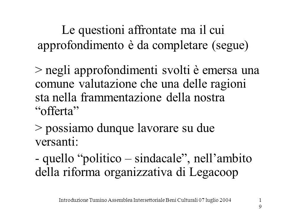 Introduzione Tumino Assemblea Intersettoriale Beni Culturali 07 luglio 200419 Le questioni affrontate ma il cui approfondimento è da completare (segue