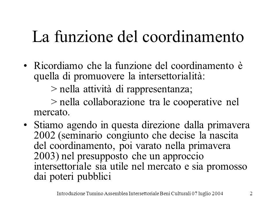 Introduzione Tumino Assemblea Intersettoriale Beni Culturali 07 luglio 20042 La funzione del coordinamento Ricordiamo che la funzione del coordinament