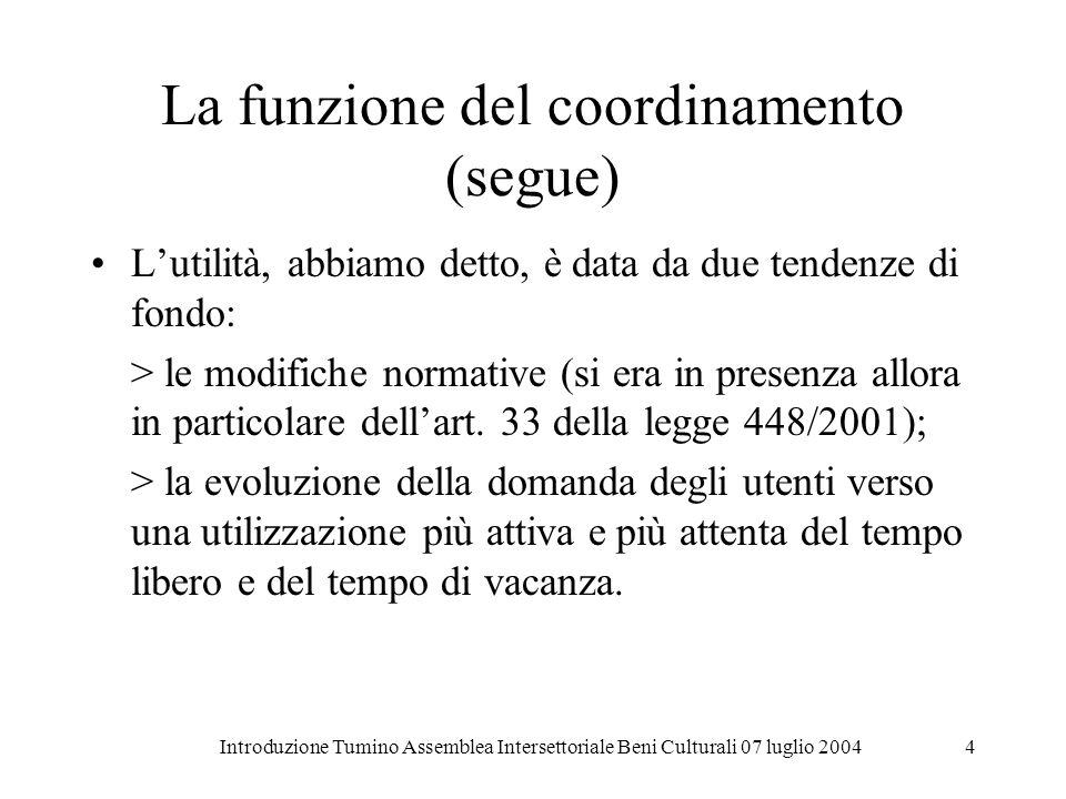 Introduzione Tumino Assemblea Intersettoriale Beni Culturali 07 luglio 20044 La funzione del coordinamento (segue) Lutilità, abbiamo detto, è data da