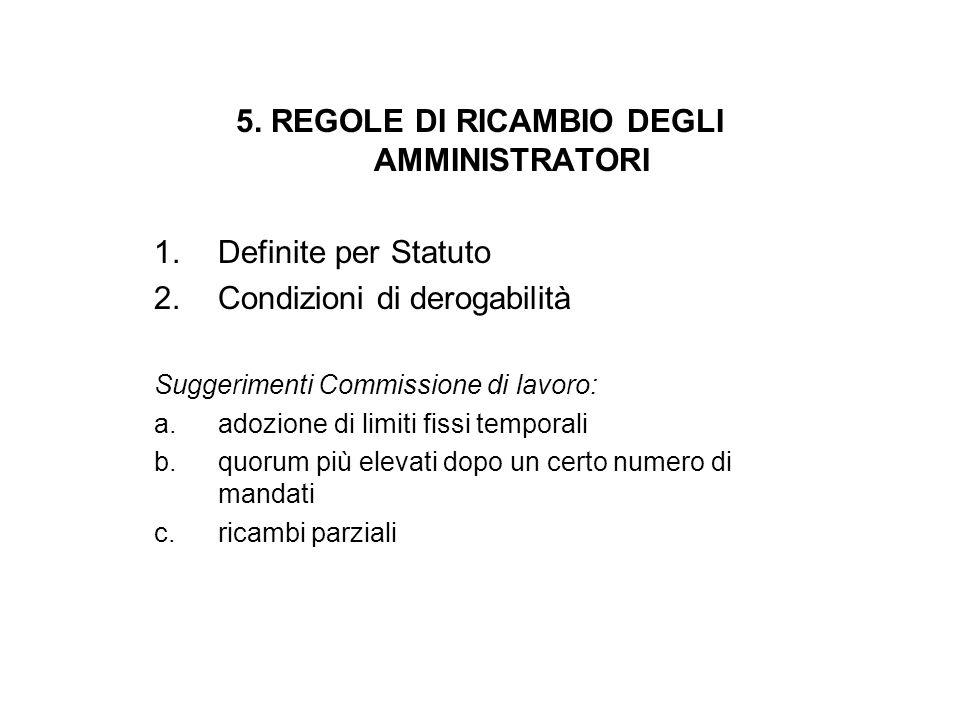 5. REGOLE DI RICAMBIO DEGLI AMMINISTRATORI 1.Definite per Statuto 2.Condizioni di derogabilità Suggerimenti Commissione di lavoro: a.adozione di limit