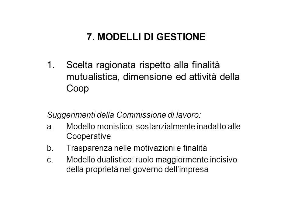 7. MODELLI DI GESTIONE 1.Scelta ragionata rispetto alla finalità mutualistica, dimensione ed attività della Coop Suggerimenti della Commissione di lav