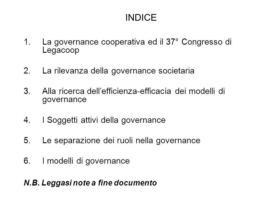 INDICE 1.La governance cooperativa ed il 37° Congresso di Legacoop 2.La rilevanza della governance societaria 3.Alla ricerca dellefficienza-efficacia