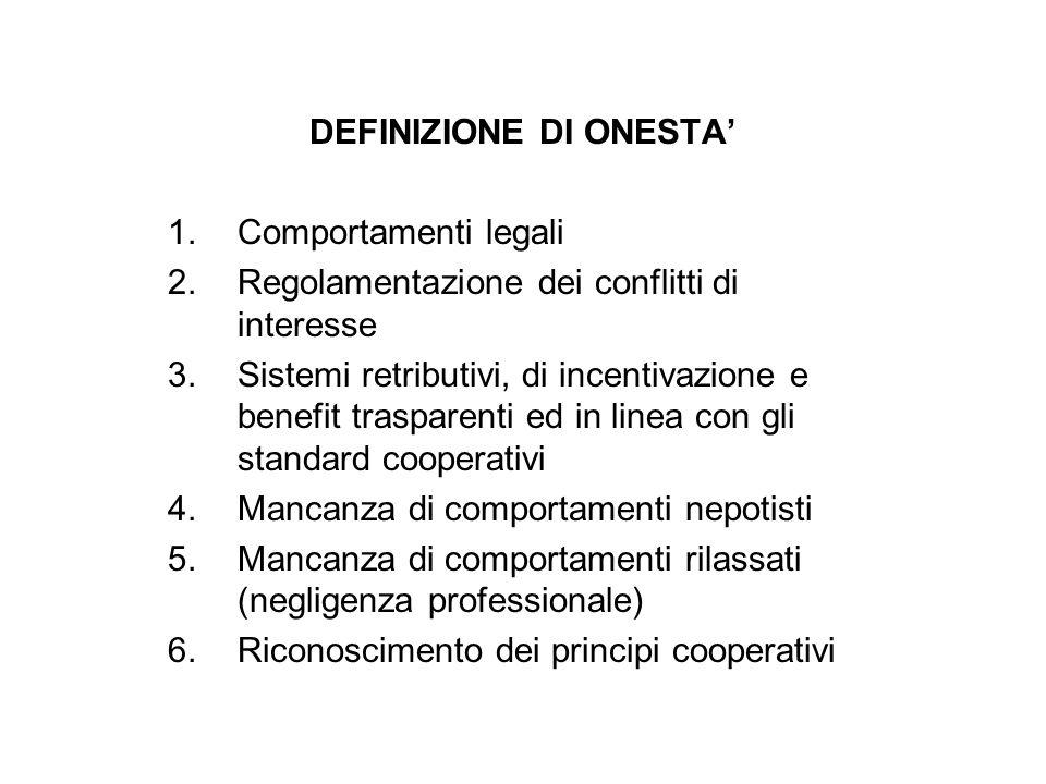 DEFINIZIONE DI ONESTA 1.Comportamenti legali 2.Regolamentazione dei conflitti di interesse 3.Sistemi retributivi, di incentivazione e benefit traspare