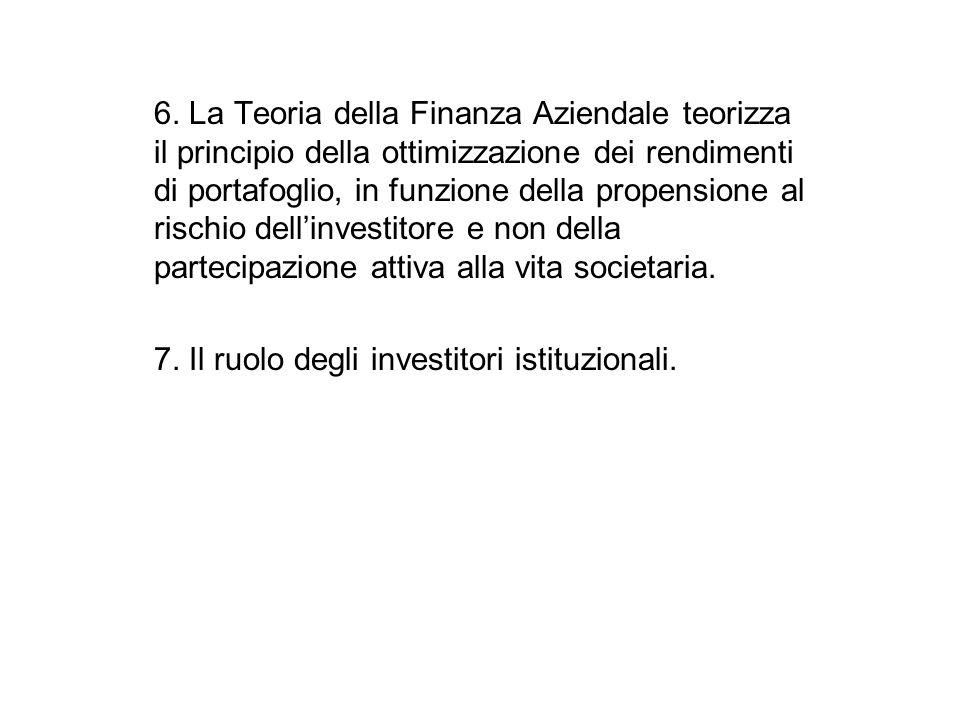 6. La Teoria della Finanza Aziendale teorizza il principio della ottimizzazione dei rendimenti di portafoglio, in funzione della propensione al rischi