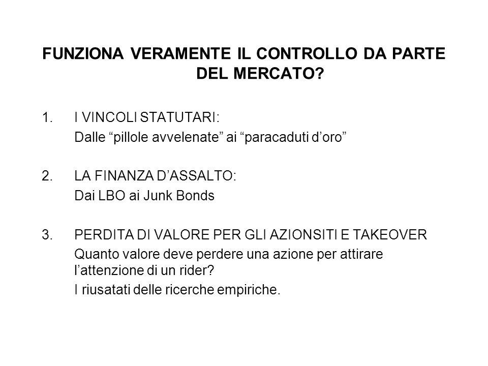 FUNZIONA VERAMENTE IL CONTROLLO DA PARTE DEL MERCATO? 1.I VINCOLI STATUTARI: Dalle pillole avvelenate ai paracaduti doro 2. LA FINANZA DASSALTO: Dai L