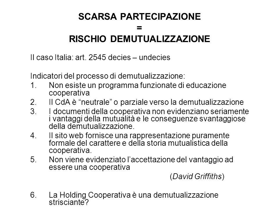 SCARSA PARTECIPAZIONE = RISCHIO DEMUTUALIZZAZIONE Il caso Italia: art. 2545 decies – undecies Indicatori del processo di demutualizzazione: 1.Non esis