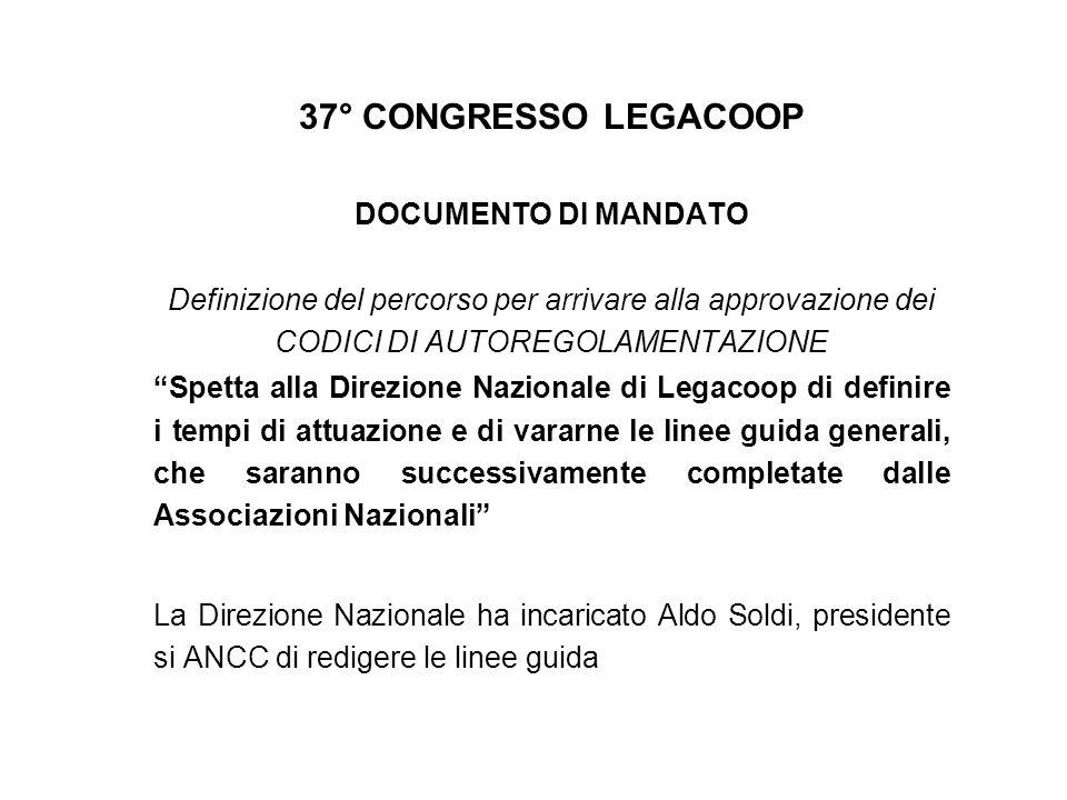37° CONGRESSO LEGACOOP DOCUMENTO DI MANDATO Definizione del percorso per arrivare alla approvazione dei CODICI DI AUTOREGOLAMENTAZIONE Spetta alla Dir