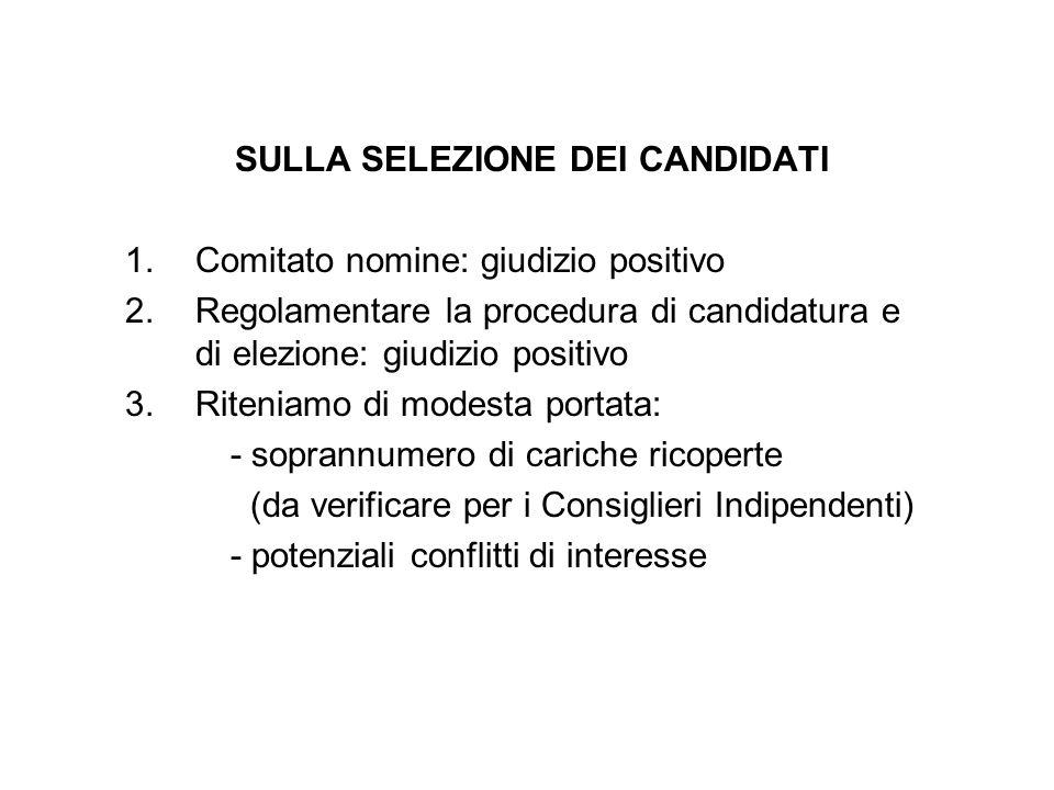 SULLA SELEZIONE DEI CANDIDATI 1.Comitato nomine: giudizio positivo 2.Regolamentare la procedura di candidatura e di elezione: giudizio positivo 3.Rite