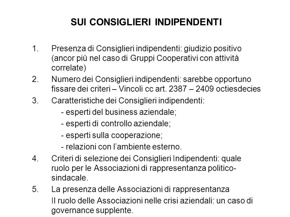 SUI CONSIGLIERI INDIPENDENTI 1.Presenza di Consiglieri indipendenti: giudizio positivo (ancor più nel caso di Gruppi Cooperativi con attività correlat
