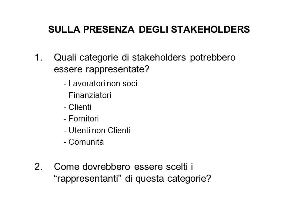 SULLA PRESENZA DEGLI STAKEHOLDERS 1.Quali categorie di stakeholders potrebbero essere rappresentate? - Lavoratori non soci - Finanziatori - Clienti -