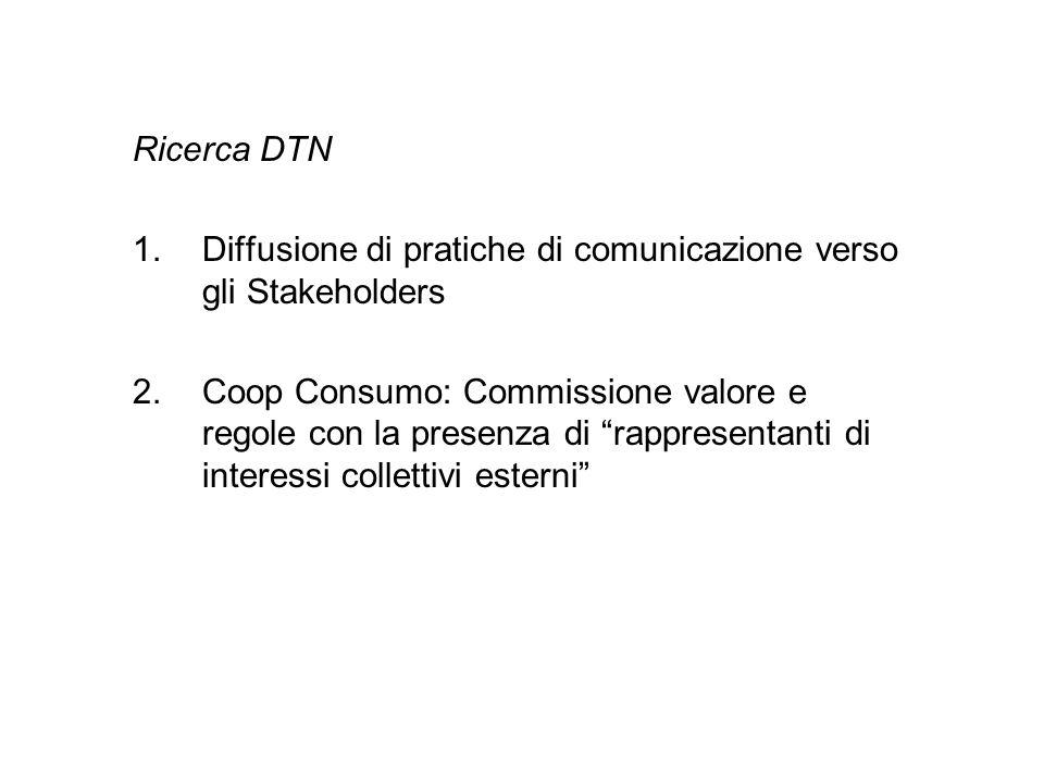 Ricerca DTN 1.Diffusione di pratiche di comunicazione verso gli Stakeholders 2.Coop Consumo: Commissione valore e regole con la presenza di rappresent