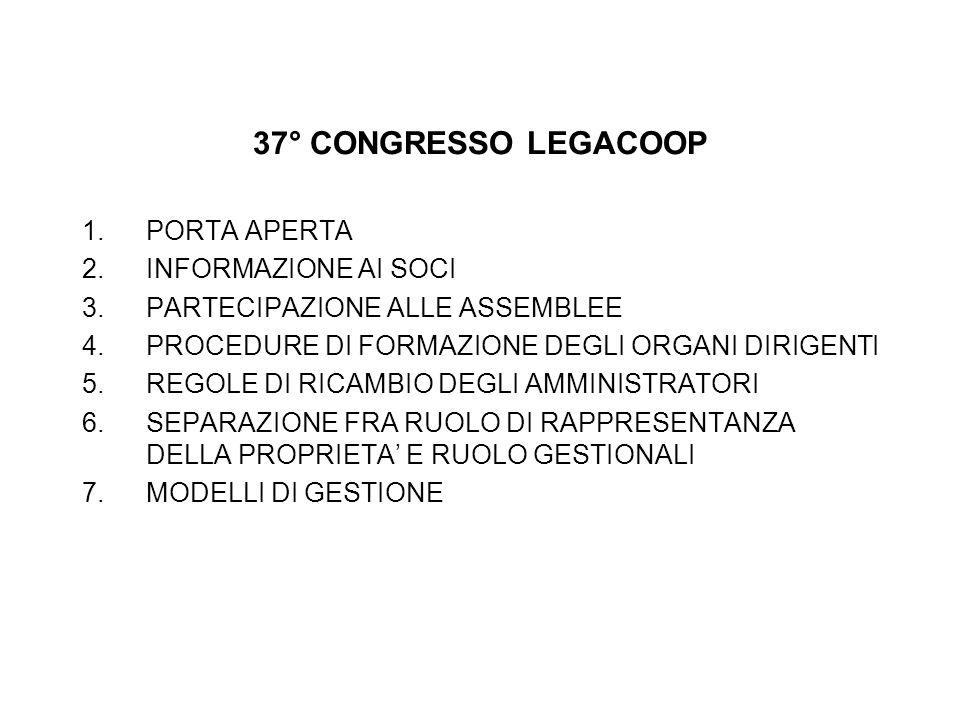 37° CONGRESSO LEGACOOP 1.PORTA APERTA 2.INFORMAZIONE AI SOCI 3.PARTECIPAZIONE ALLE ASSEMBLEE 4.PROCEDURE DI FORMAZIONE DEGLI ORGANI DIRIGENTI 5.REGOLE