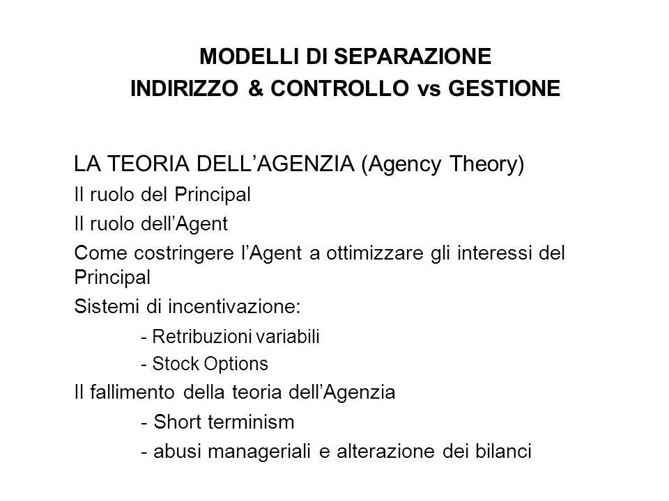 MODELLI DI SEPARAZIONE INDIRIZZO & CONTROLLO vs GESTIONE LA TEORIA DELLAGENZIA (Agency Theory) Il ruolo del Principal Il ruolo dellAgent Come costring