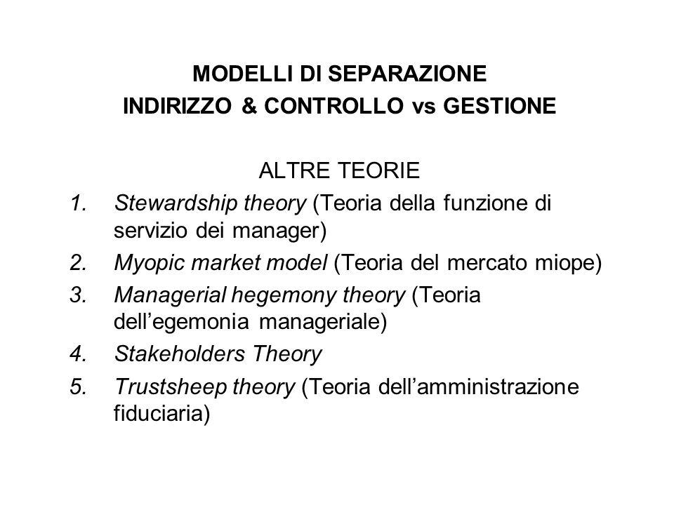 MODELLI DI SEPARAZIONE INDIRIZZO & CONTROLLO vs GESTIONE ALTRE TEORIE 1.Stewardship theory (Teoria della funzione di servizio dei manager) 2.Myopic ma