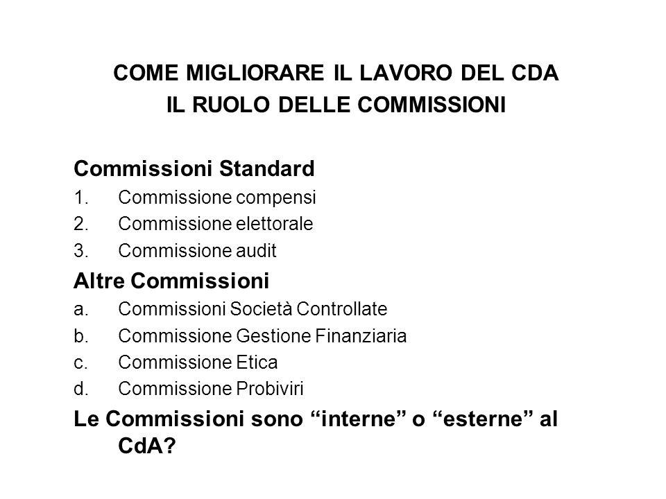 COME MIGLIORARE IL LAVORO DEL CDA IL RUOLO DELLE COMMISSIONI Commissioni Standard 1.Commissione compensi 2.Commissione elettorale 3.Commissione audit