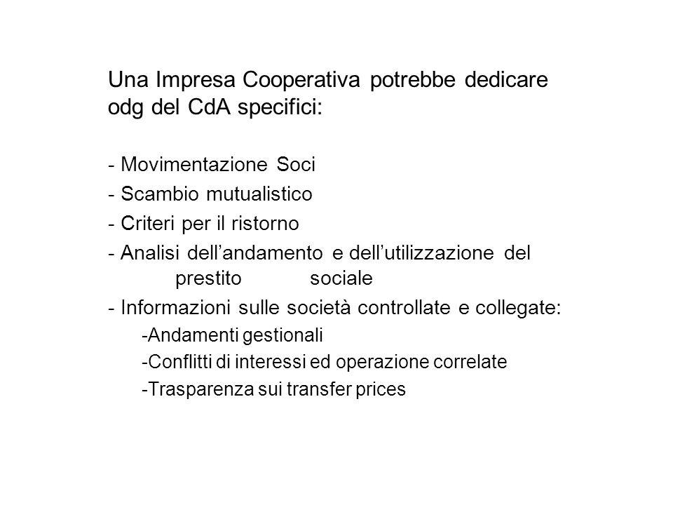 Una Impresa Cooperativa potrebbe dedicare odg del CdA specifici: - Movimentazione Soci - Scambio mutualistico - Criteri per il ristorno - Analisi dell