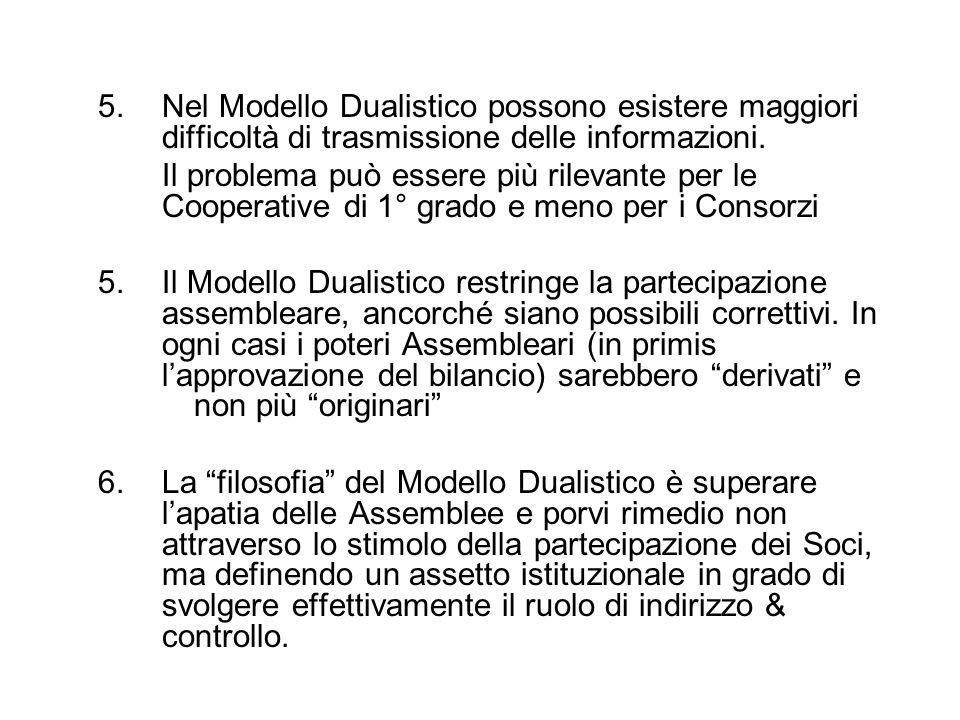 5. Nel Modello Dualistico possono esistere maggiori difficoltà di trasmissione delle informazioni. Il problema può essere più rilevante per le Coopera