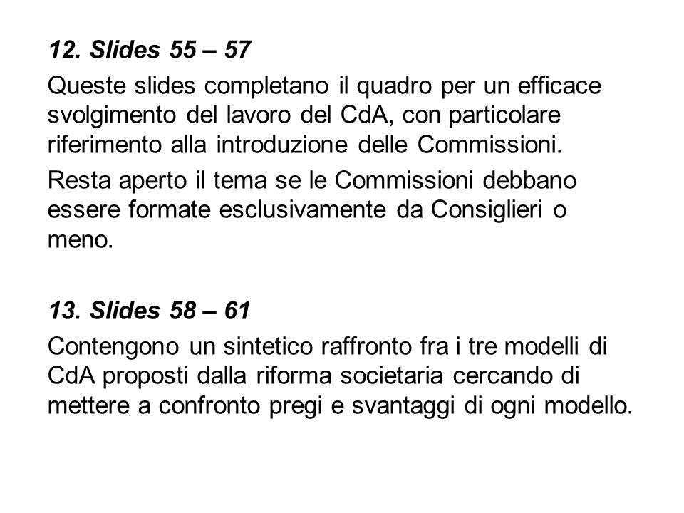 12. Slides 55 – 57 Queste slides completano il quadro per un efficace svolgimento del lavoro del CdA, con particolare riferimento alla introduzione de
