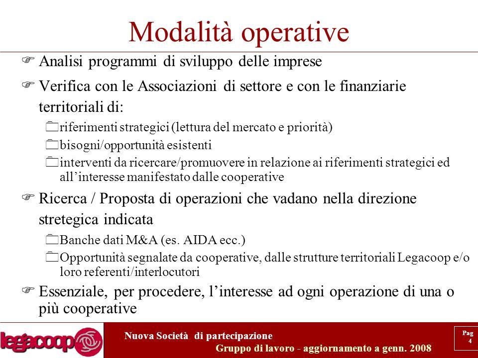 Nuova Società di partecipazione Gruppo di lavoro - aggiornamento a genn.