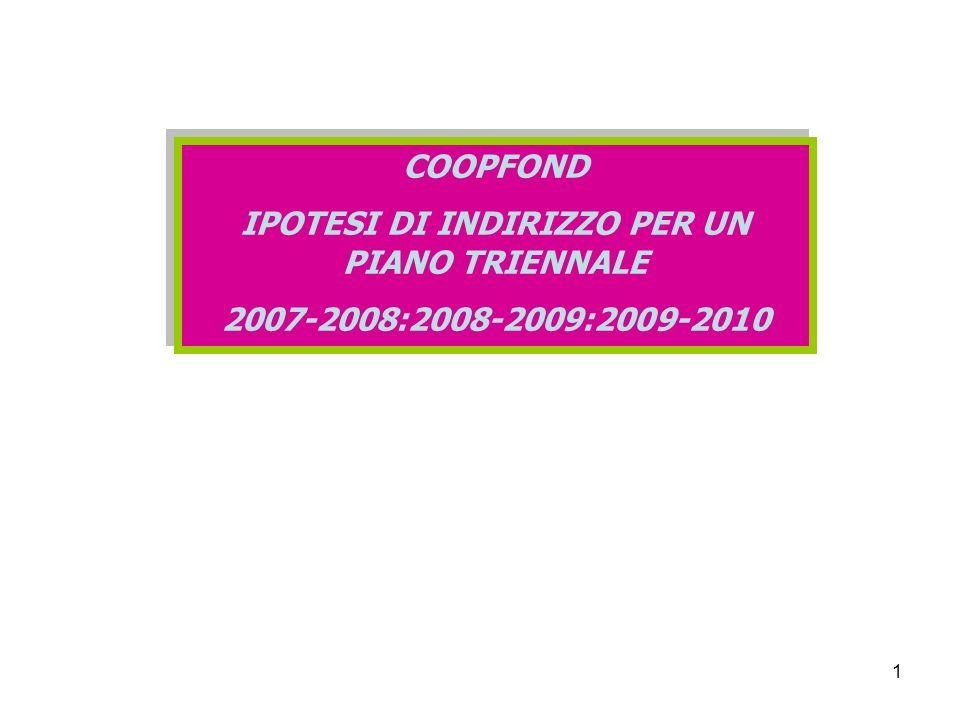 1 COOPFOND IPOTESI DI INDIRIZZO PER UN PIANO TRIENNALE 2007-2008:2008-2009:2009-2010 COOPFOND IPOTESI DI INDIRIZZO PER UN PIANO TRIENNALE 2007-2008:2008-2009:2009-2010