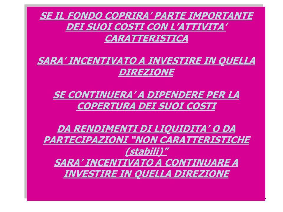 44 SE IL FONDO COPRIRA PARTE IMPORTANTE DEI SUOI COSTI CON LATTIVITA CARATTERISTICA SARA INCENTIVATO A INVESTIRE IN QUELLA DIREZIONE SE CONTINUERA A DIPENDERE PER LA COPERTURA DEI SUOI COSTI DA RENDIMENTI DI LIQUIDITA O DA PARTECIPAZIONI NON CARATTERISTICHE (stabili) SARA INCENTIVATO A CONTINUARE A INVESTIRE IN QUELLA DIREZIONE SE IL FONDO COPRIRA PARTE IMPORTANTE DEI SUOI COSTI CON LATTIVITA CARATTERISTICA SARA INCENTIVATO A INVESTIRE IN QUELLA DIREZIONE SE CONTINUERA A DIPENDERE PER LA COPERTURA DEI SUOI COSTI DA RENDIMENTI DI LIQUIDITA O DA PARTECIPAZIONI NON CARATTERISTICHE (stabili) SARA INCENTIVATO A CONTINUARE A INVESTIRE IN QUELLA DIREZIONE