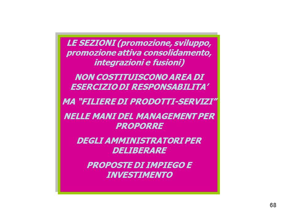 68 LE SEZIONI (promozione, sviluppo, promozione attiva consolidamento, integrazioni e fusioni) NON COSTITUISCONO AREA DI ESERCIZIO DI RESPONSABILITA MA FILIERE DI PRODOTTI-SERVIZI NELLE MANI DEL MANAGEMENT PER PROPORRE DEGLI AMMINISTRATORI PER DELIBERARE PROPOSTE DI IMPIEGO E INVESTIMENTO LE SEZIONI (promozione, sviluppo, promozione attiva consolidamento, integrazioni e fusioni) NON COSTITUISCONO AREA DI ESERCIZIO DI RESPONSABILITA MA FILIERE DI PRODOTTI-SERVIZI NELLE MANI DEL MANAGEMENT PER PROPORRE DEGLI AMMINISTRATORI PER DELIBERARE PROPOSTE DI IMPIEGO E INVESTIMENTO