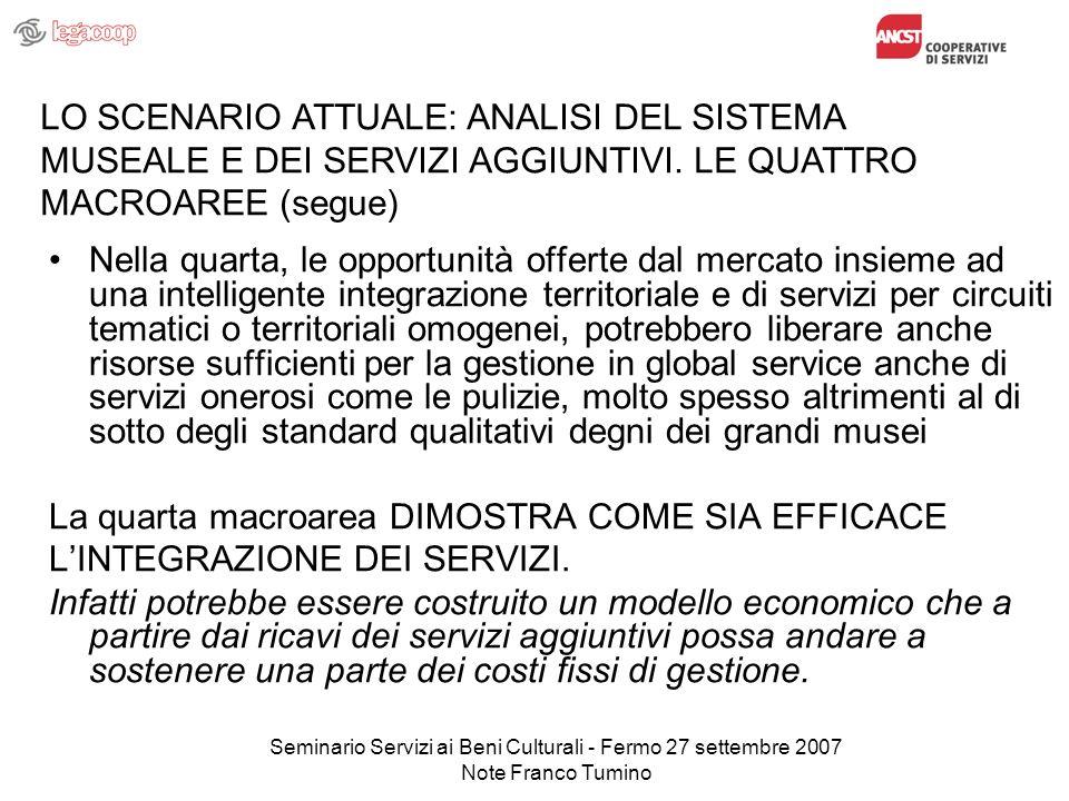 Seminario Servizi ai Beni Culturali - Fermo 27 settembre 2007 Note Franco Tumino Nella quarta, le opportunità offerte dal mercato insieme ad una intel