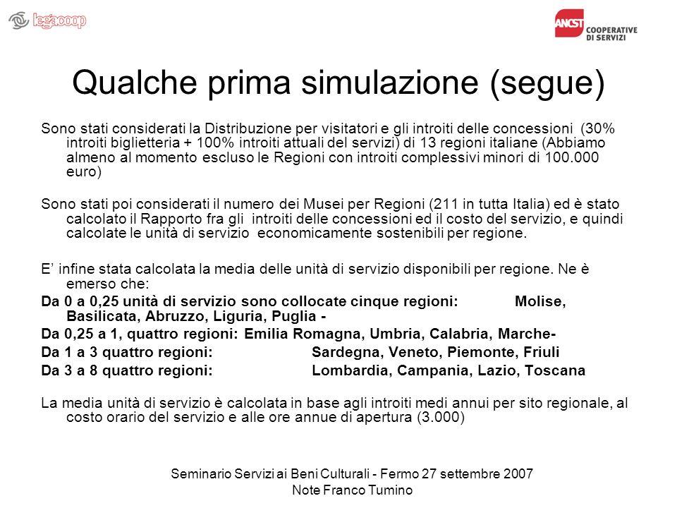 Seminario Servizi ai Beni Culturali - Fermo 27 settembre 2007 Note Franco Tumino Qualche prima simulazione (segue) Sono stati considerati la Distribuz