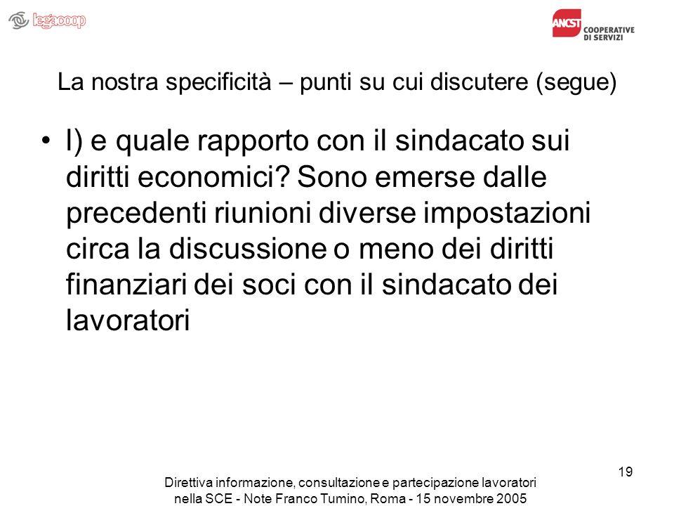Direttiva informazione, consultazione e partecipazione lavoratori nella SCE - Note Franco Tumino, Roma - 15 novembre 2005 19 La nostra specificità – p