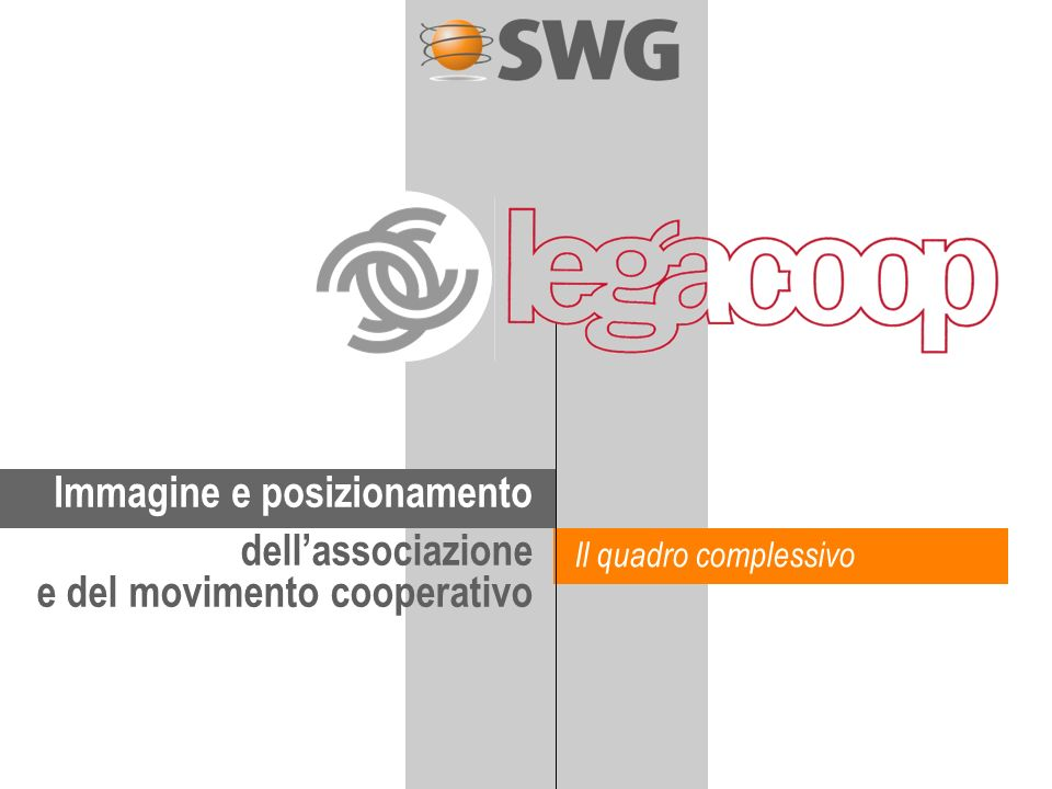 Immagine e posizionamento dellassociazione e del movimento cooperativo Il quadro complessivo