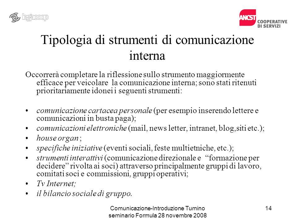 Comunicazione-Introduzione Tumino seminario Formula 28 novembre 2008 Tipologia di strumenti di comunicazione interna Occorrerà completare la riflessio
