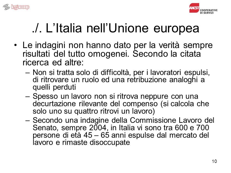 10./. LItalia nellUnione europea Le indagini non hanno dato per la verità sempre risultati del tutto omogenei. Secondo la citata ricerca ed altre: –No