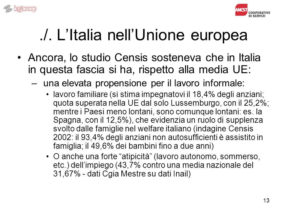 13./. LItalia nellUnione europea Ancora, lo studio Censis sosteneva che in Italia in questa fascia si ha, rispetto alla media UE: – una elevata propen