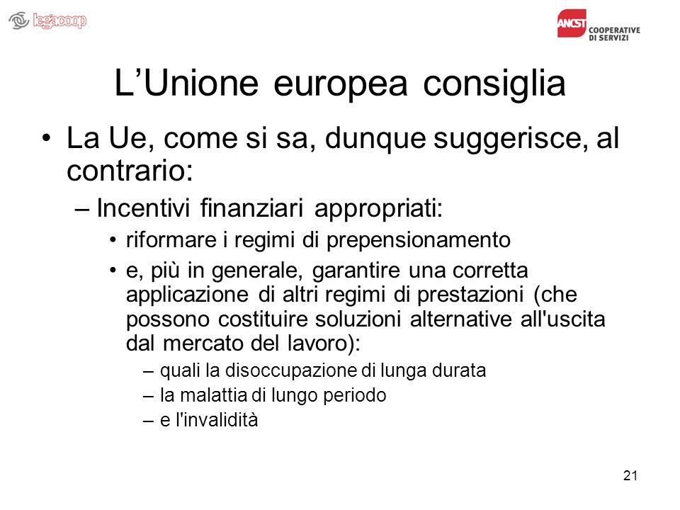 21 LUnione europea consiglia La Ue, come si sa, dunque suggerisce, al contrario: –Incentivi finanziari appropriati: riformare i regimi di prepensionam
