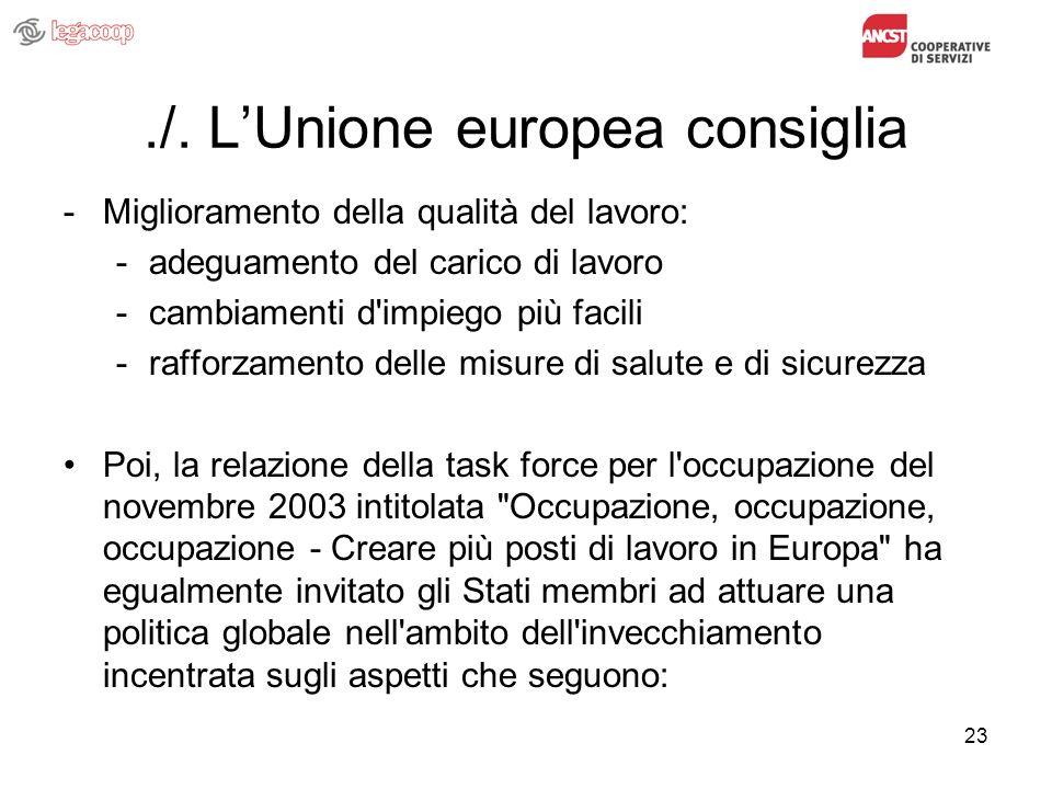 23./. LUnione europea consiglia -Miglioramento della qualità del lavoro: -adeguamento del carico di lavoro -cambiamenti d'impiego più facili -rafforza