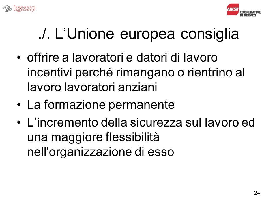24./. LUnione europea consiglia offrire a lavoratori e datori di lavoro incentivi perché rimangano o rientrino al lavoro lavoratori anziani La formazi